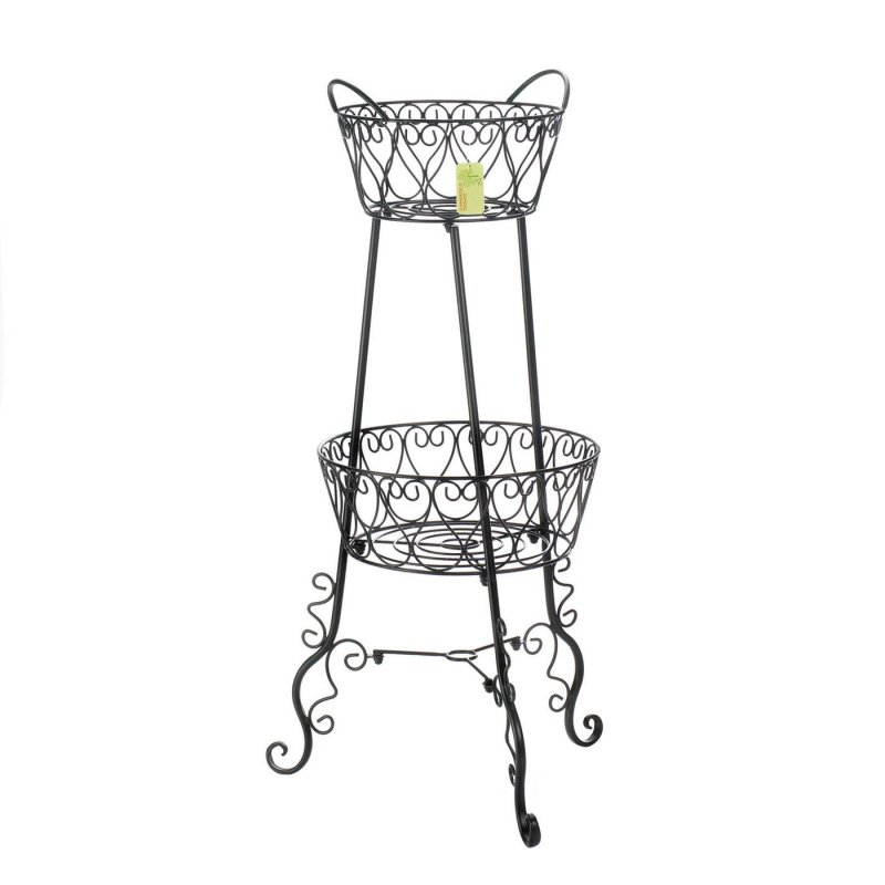 Image 1 of Two Tier Indoor or Outdoor Plant Stand w/ Scroll Legs French Country Farmhouse