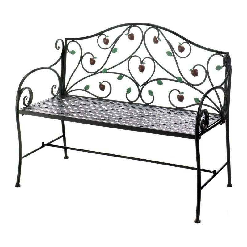 Enjoy this decorative iron bench detailed with hanging apples. Place in a shady spot under a tree or along a garden path for a place to relax and enjoy nature.