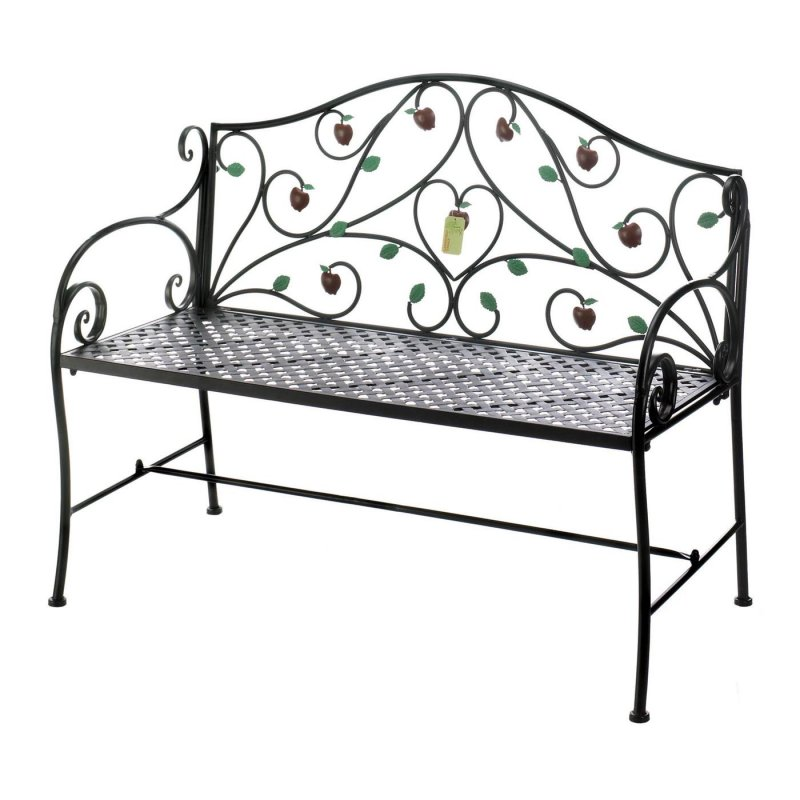 Image 1 of Iron Bench w/ Country Apple Motif Patio, Garden Furniture