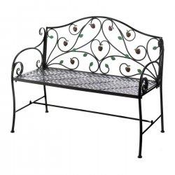 Iron Bench w/ Country Apple Motif Patio, Garden Furniture