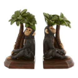 Monkey under Palm Tree Bookends