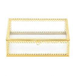 '.Glass Jewelry Box Gold Trim.'