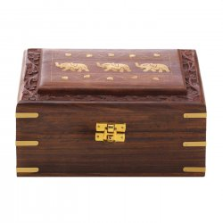 Mango Wood Jewelry Box w/ Carved Vine Trim & Elephant Inlay on Top