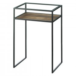 Modern Industrial Side Table w/ Glass Top, Iron Frame and Wooden Lower Shelf