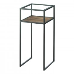 Modern Industrial Side Table w/ Glass Top, Iron Frame & Wooden Lower Shelf Small
