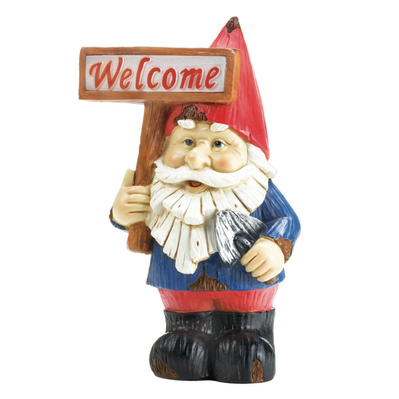 Image 1 of Charming Garden Gnome Holding Solar Welcome Sign Figurine Statue