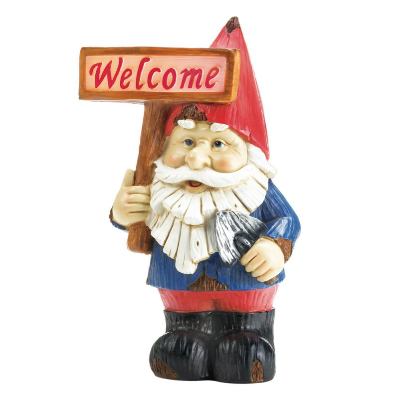 Image 2 of Charming Garden Gnome Holding Solar Welcome Sign Figurine Statue