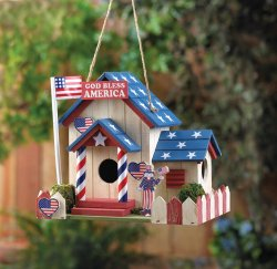 Americana Patriot Birdhouse with American Flag, Uncle Sam Red & White Fence