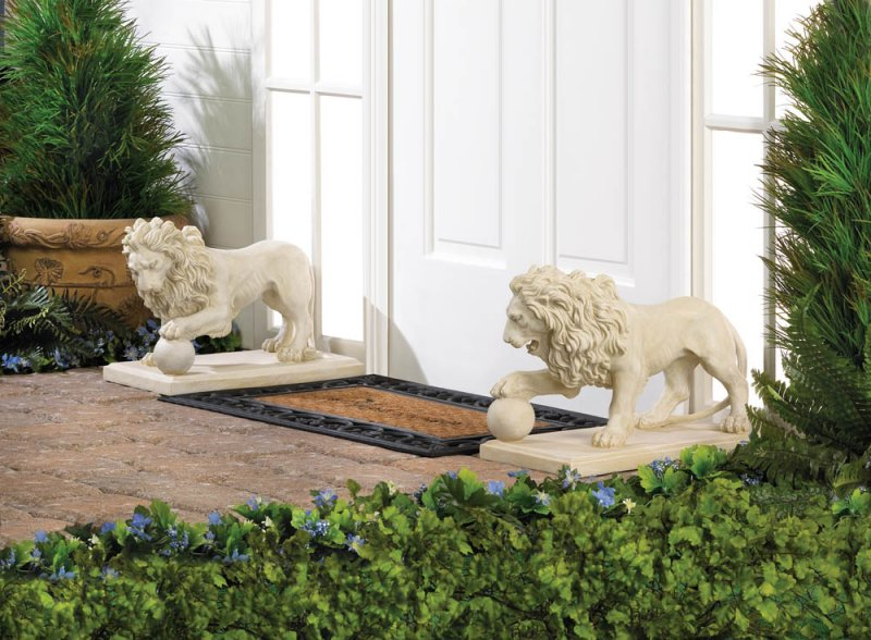Image 0 of 2 Regal Lion Statues w/ Paw on Ball Garden, Walkway, Pathway, Driveway Figurines