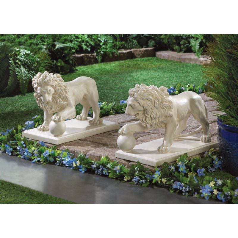 Image 1 of 2 Regal Lion Statues w/ Paw on Ball Garden, Walkway, Pathway, Driveway Figurines
