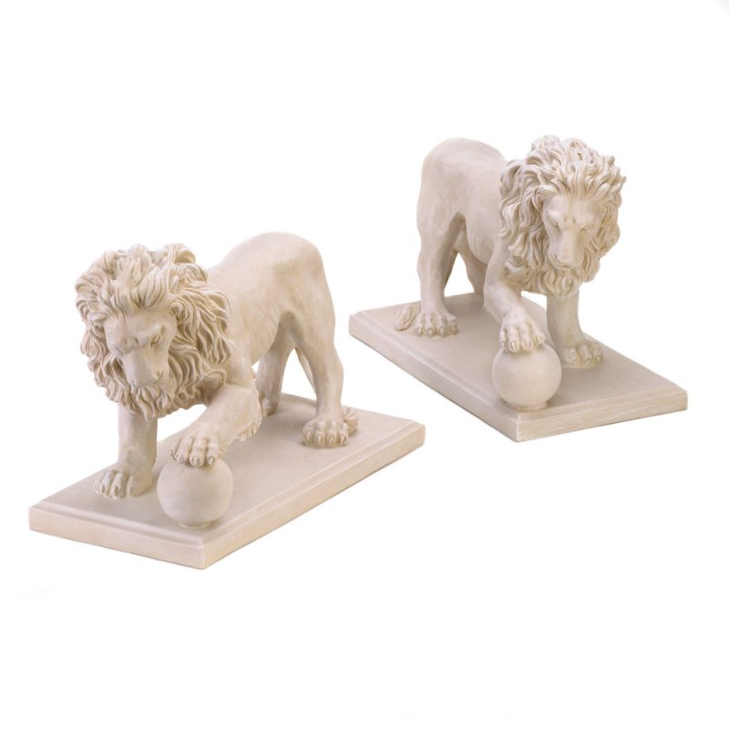 With a paw perfectly poised atop an orb, this matching pair of magnificent lion statuary will guard your garden or walkway