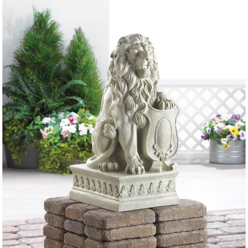 Image 0 of Stately Lion Garden Statue with Paw on Shield
