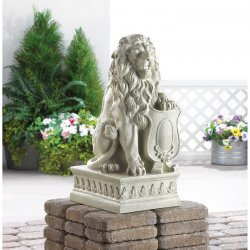 Stately Lion Garden Statue with Paw on Shield