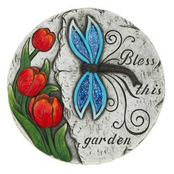Stepping Stone w/ Bless this Garden & Blue Dragonfly & Red Tulips
