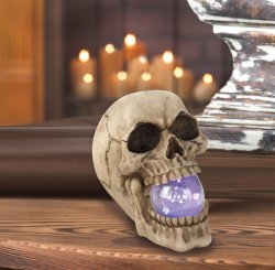 Ghoulish Skull with LED Light Up Orb in Mouth Great for Halloween