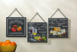 Bon Appetite Chalkboard Style Wall Plaques Kitchen, Dining Decor Set of 3
