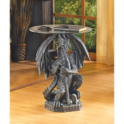 Accent/End Table Black Gothic Guarding Dragon w/ Tempered Glass Top