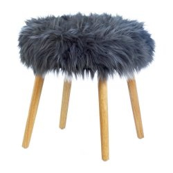Gray Faux Fur Vanity Stool or Footstool with Wooden Legs