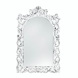 Vintage Style Distressed White Carved Ornate Flourishes Arched Frame Wall Mirror