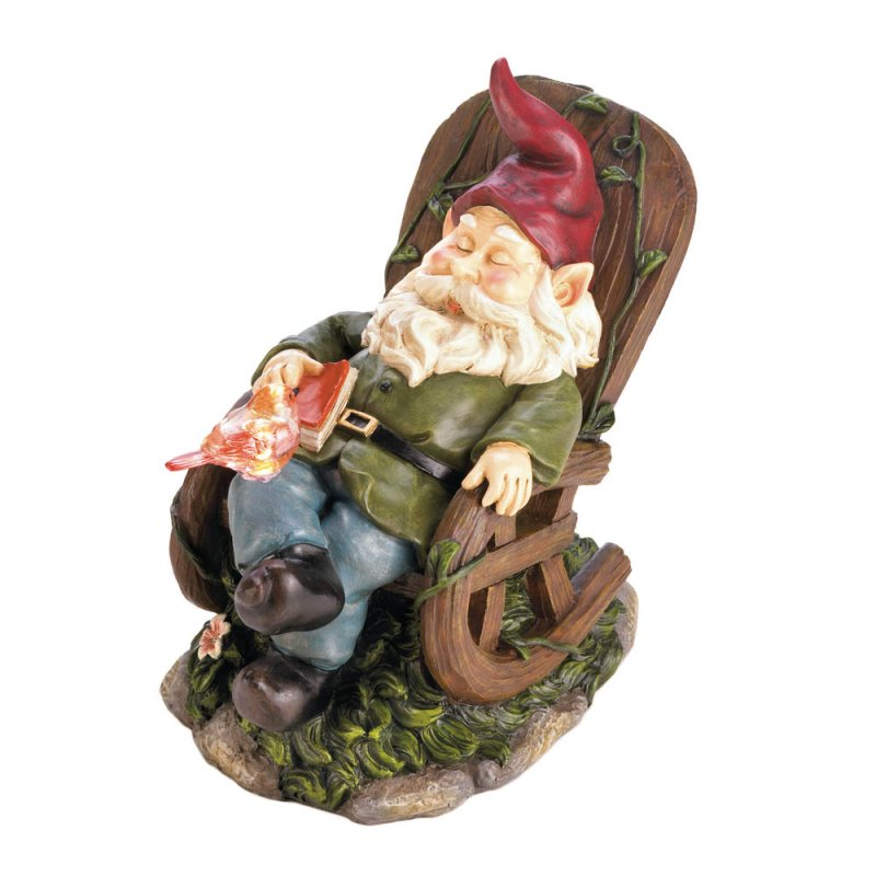 Image 3 of Garden Gnome Napping in Rocking Chair w/ Solar Red Bird on Lap Figurine