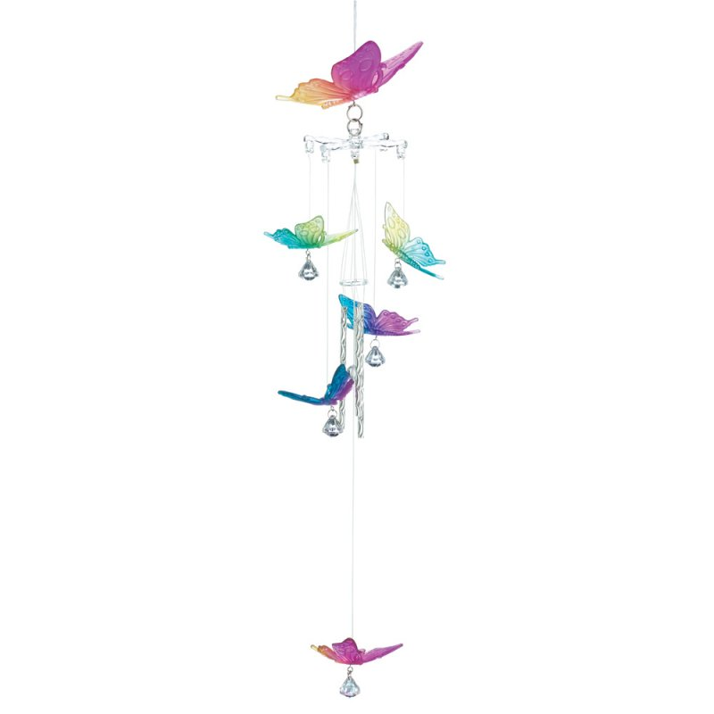 Image 0 of Colorful Rainbow Butterflies Wind Chime 22