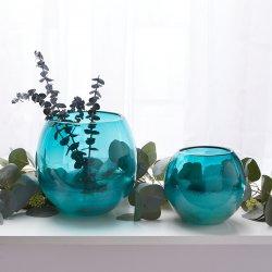 Contemporary Aquamarine Fish Bowl Art Glass Vase or use as Decorative Piece