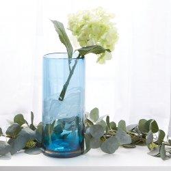 Blue Ocean Waters Cylinder Art Glass Vase Large 12.5 High