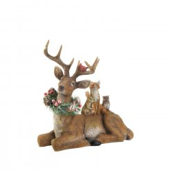 Reindeer Laying Down w/ Holiday Wreath and Woodland Friends Christmas Decor