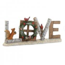 Rustic Christmas Figurine Love Sign w/ Wreath, Squirrel & Birds
