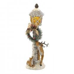 LED Lighted Lamp Post w/ 2 Reindeer & Christmas Wreath