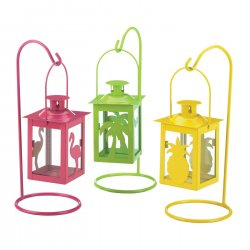 3 Tropical Candle Lanterns Hanging Stands Pink, Green & Yellow 9 High