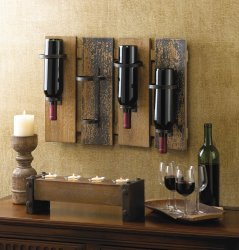 Rustic Wine Wall Rack Holds 4 Wine Bottles Fir Wood & Iron Holders