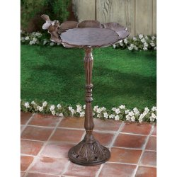Rustic Cast Iron Birdbath, Feeder Garden Statue Decor