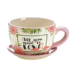 Teacup Planter, Flowerpot Decorated with Flowers and Pink Flamingos