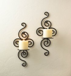 Candle Wall Sconces Swirl Design Wrought Iron Set of 2