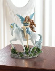 Blue Dressed Fairy Sitting on White Unicorn w/ Blue Mane Golden Horn Figurine
