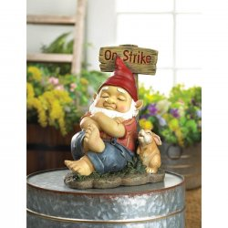 Napping Garden Gnome with Rabbit and On Strike Sign