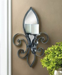 French Fleur De Lis Wall Sconce Iron w/ Mirrored Back