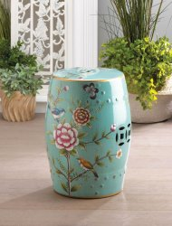 Colorful Garden Stool or Side Table, Plant Stand  Decorated w/ Flowers & Birds