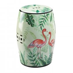 Tropical Garden Stool or Side Table, Plant Stand Pink Flamingos & Leaf Design