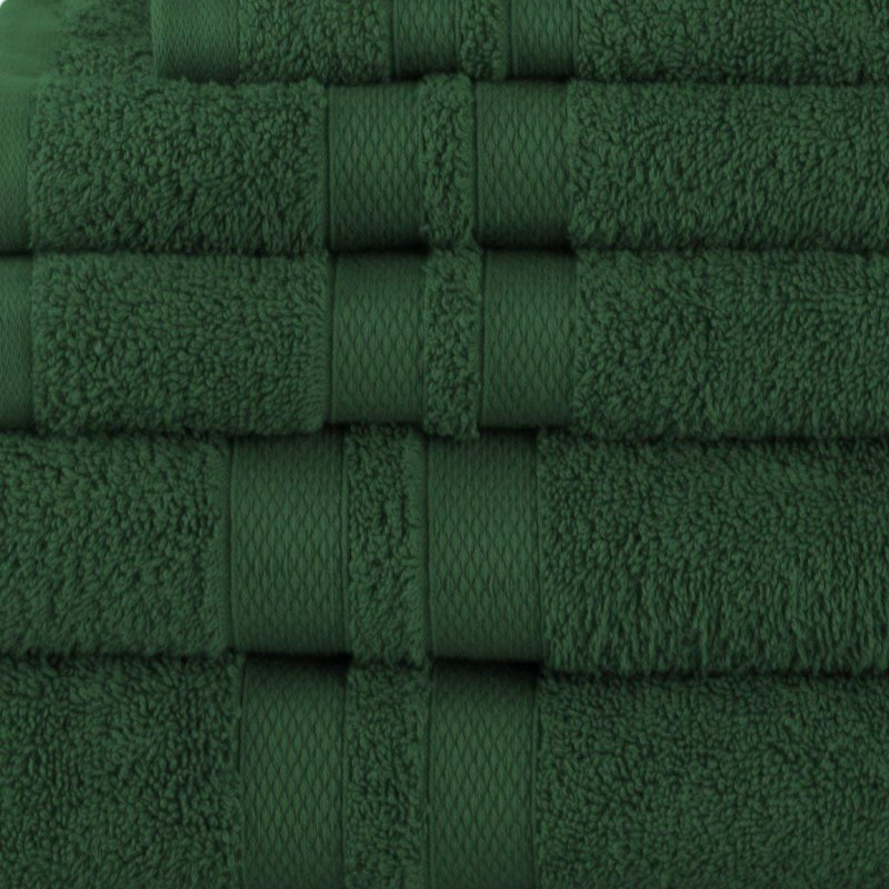 Forest Green Double Border 6-Piece Towel Set
