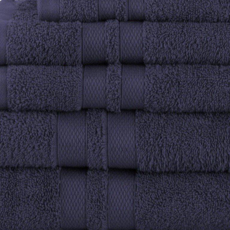 Navy Blue Double Border 6-Piece Towel Set