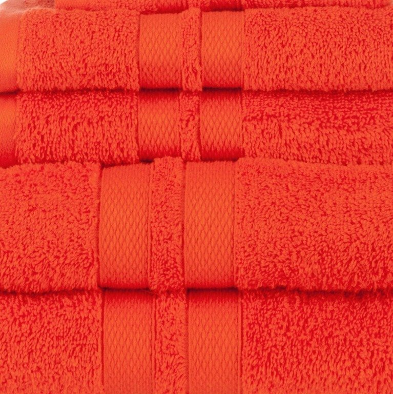 Tangerine Double Border 6-Piece Towel Set