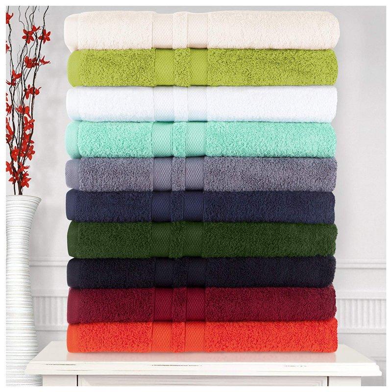 Image 0 of 100% Pure Cotton Honeycomb Double Border 2 Bath Towels, 2  Hands, 2 Face Towels