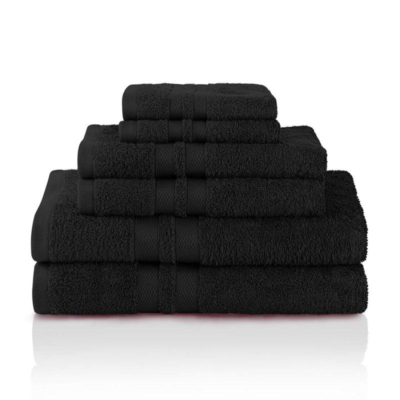 Image 1 of 100% Pure Cotton Honeycomb Double Border 2 Bath Towels, 2  Hands, 2 Face Towels