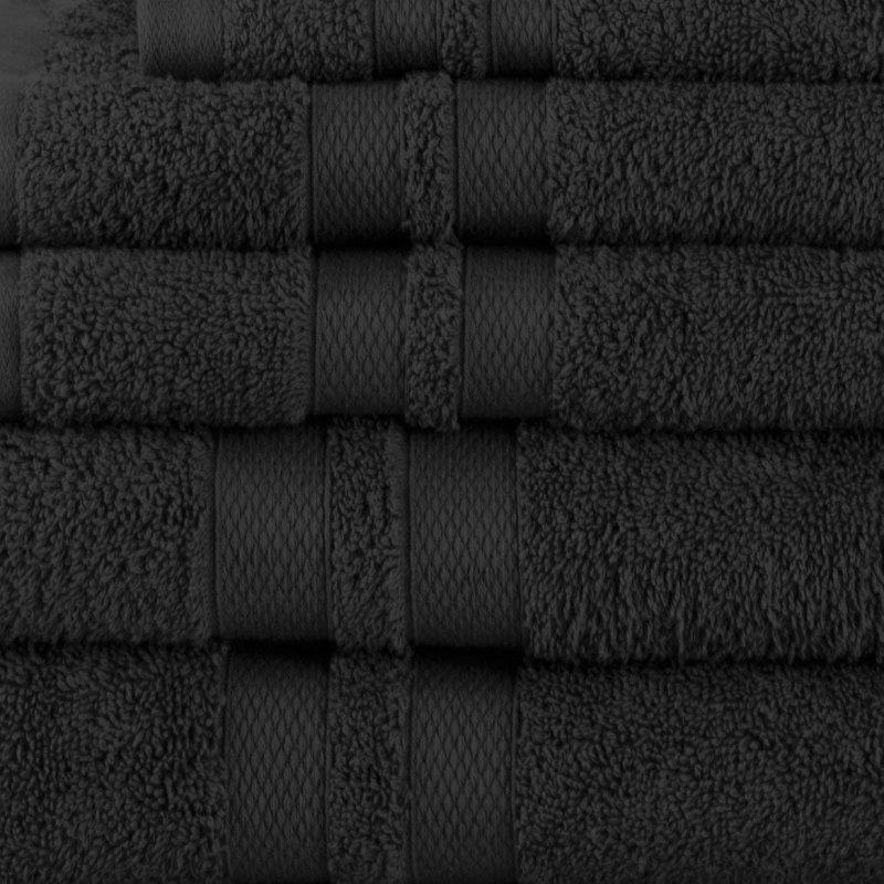 Black Double Border 6-Piece Towel Set