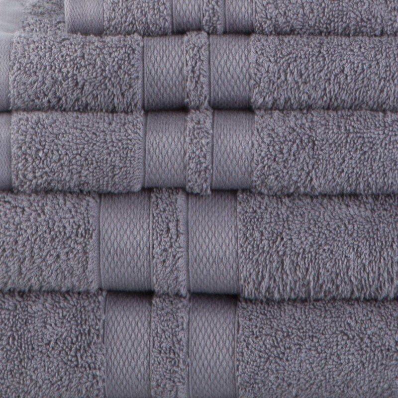 Charcoal Double Border 6-Piece Towel Set