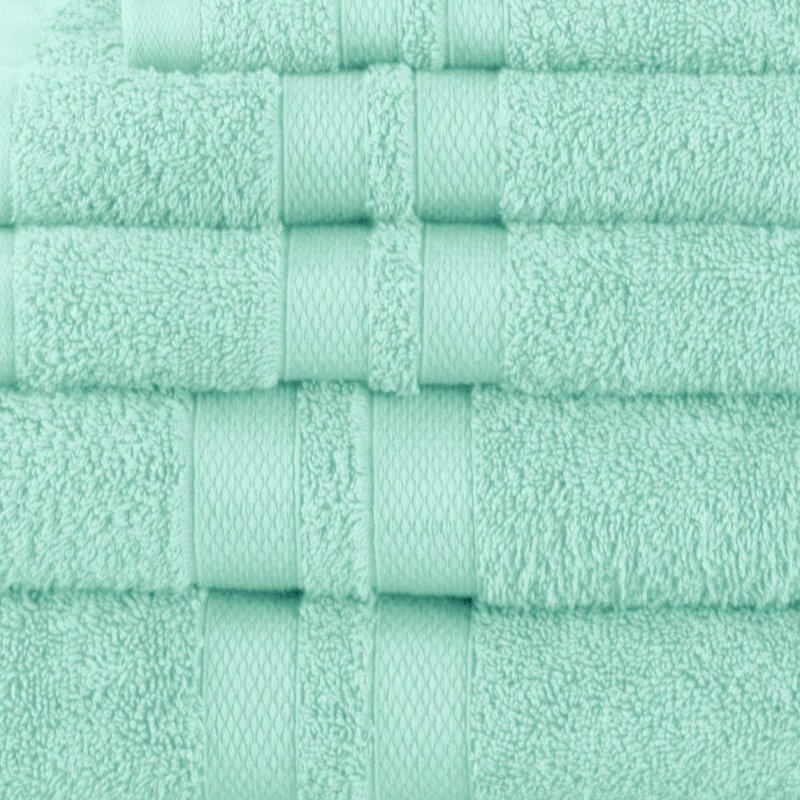 Cyan Double Border 6-Piece Towel Set