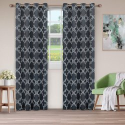 Superior Navy Bohemian Trellis Blackout Insulated Grommet Curtains 2 Panels