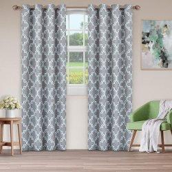 Superior Silver Bohemian Trellis Blackout Insulated Grommet Curtains 2 Panels